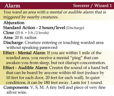 Alarm Spell - 4th Edition Style