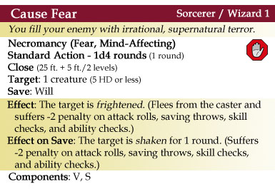 Cause Fear Spell - 4th Edition Style