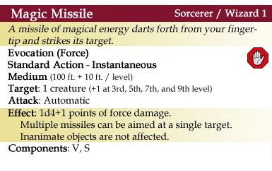 Magic Missile Spell - 4th Edition Style