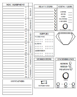 Encumbrance by Stone - L&L Equipment Sheet