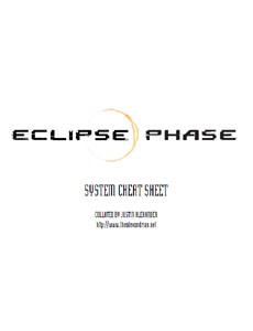Eclipse Phase - System Cheat Sheets - Justin Alexander