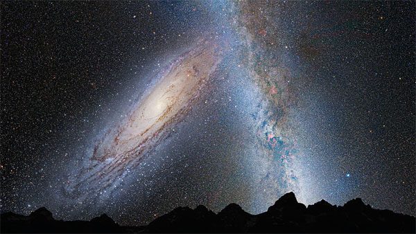 Milky Way and Andromeda Galaxy Colliding