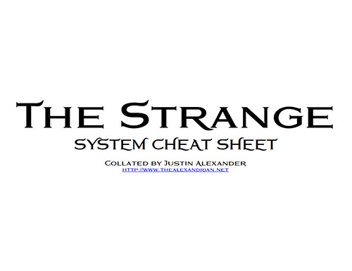 The Strange - System Cheat Sheet