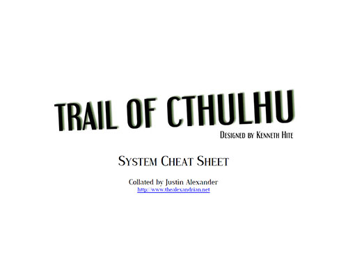 Trail of Cthulhu - System Cheat Sheet
