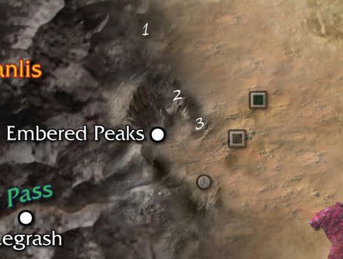 Map of the Embered Peaks Region - Numenera