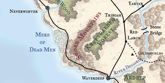 Map of Faerun - Near Waterdeep
