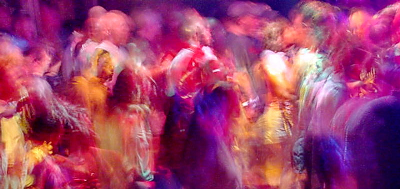 Rave dancers in natural motion - experimental digital photography by Rick Doble