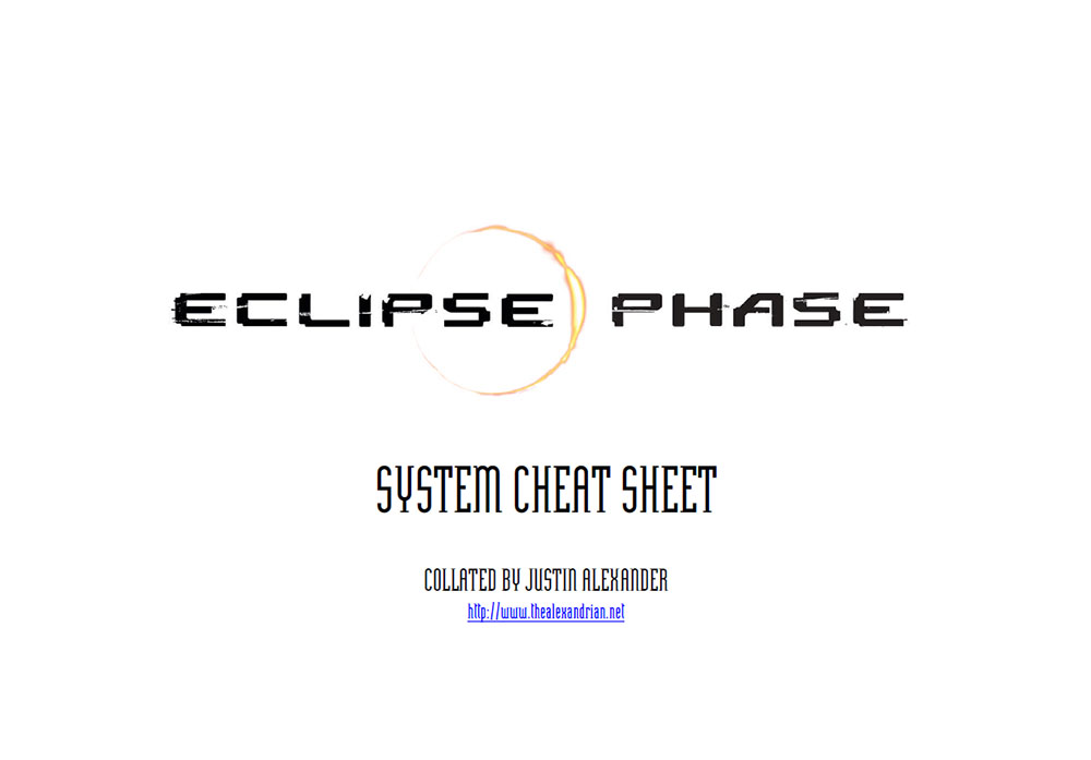 Eclipse Phase - System Cheat Sheet