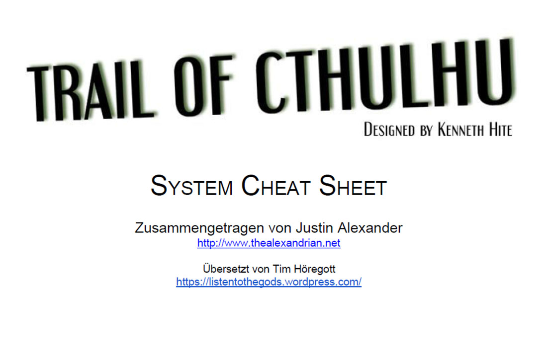 Trail of Cthulhu - System Cheat Sheet (GERMAN)