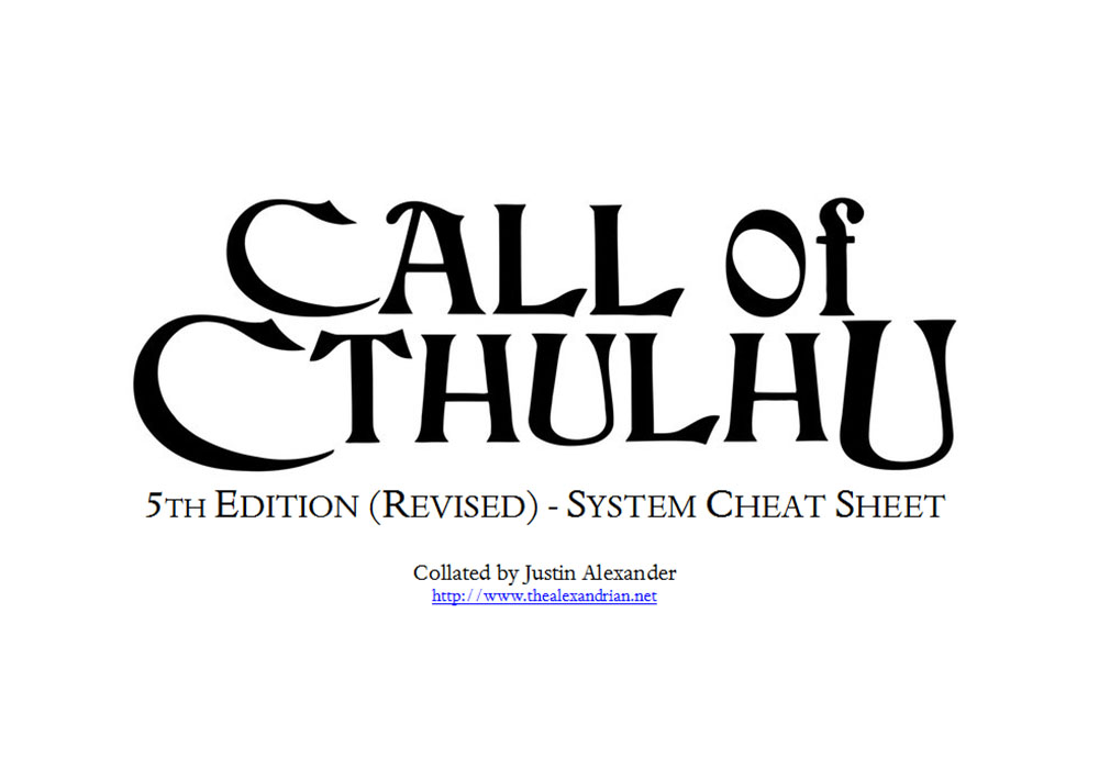 Call of Cthulhu (5th Edition Revised) - System Cheat Sheet