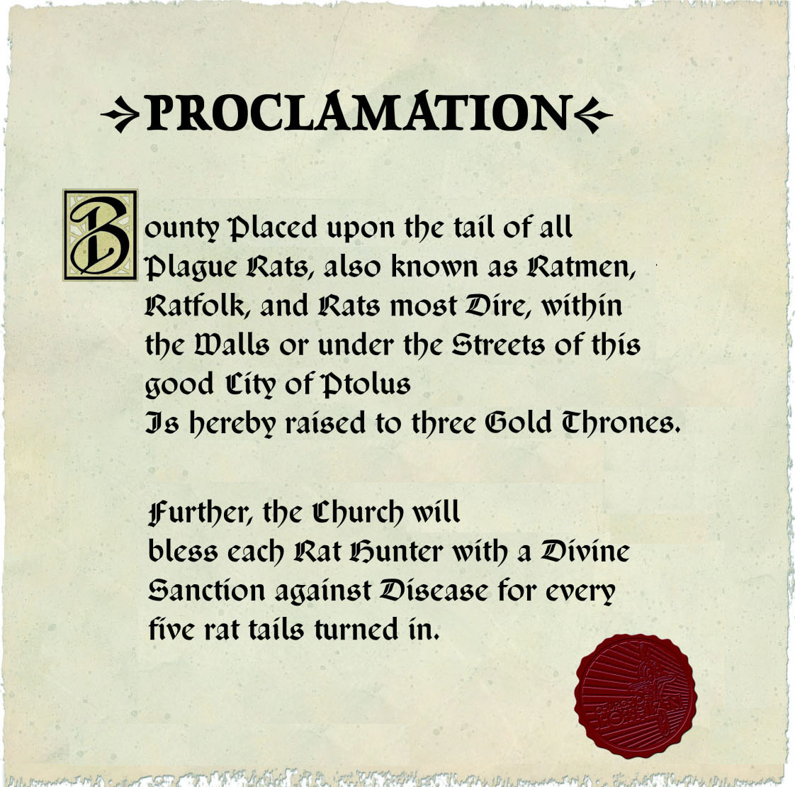 Proclamation of Rat Bounty